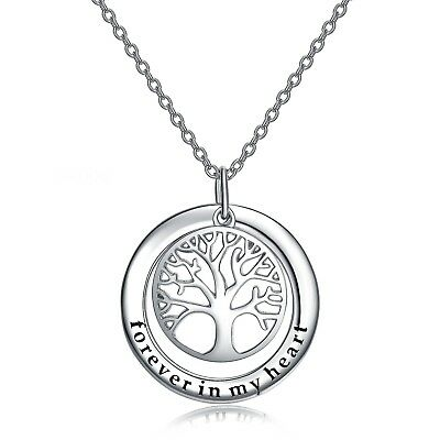 """Sterling Silver Family Tree Pendant """"Forever in My Heart"""" Tree of Life Necklace"""