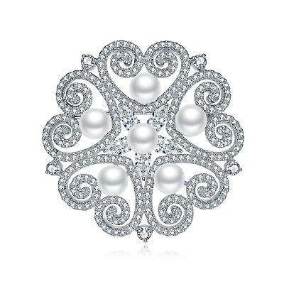 Bouquet Brooch Pin with Heart and Star Design Accented Cubic Zirconia And Pearl