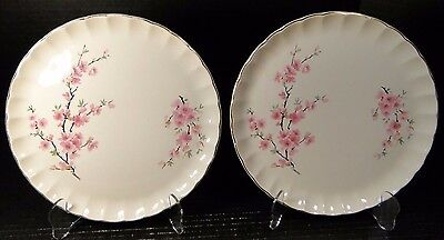 """TWO W S George Bolero Peach Blossom Luncheon Plates 9 1/4"""" SET of 2 EXCELLENT"""