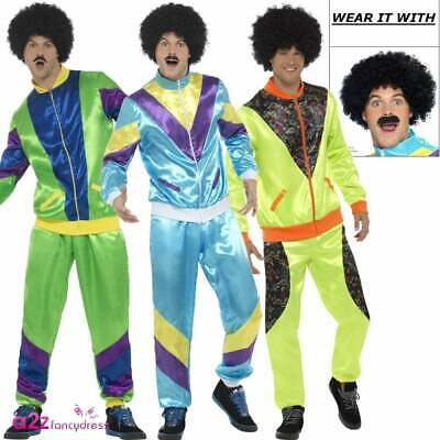 Mens 80's Height Of Fashion Costume 1980s Tracksuit Shell Suit Fancy Dress Wig