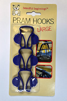 Beautiful Beginnings Large Pram Buggy Stroller Hooks Holder Clip For Coats Bags