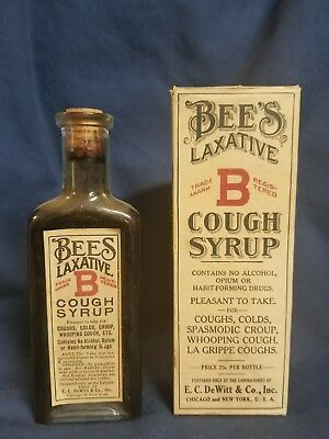 Bees Laxative Cough Syrup Dewitt Co Chicago New York Full bottle medicine
