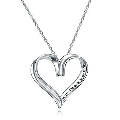 """Sterling Silver Open Heart Pendant Necklace """"You're The Smile To My Face"""" 18inch"""