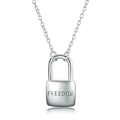 925 Sterling Silver Freedom Lock Shape Charm Pendant Necklace 18.5 inch Chain