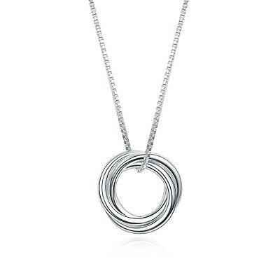 925 Sterling Silver Cute Hoop Pendant Necklace for Women 15.5+2 Inch Chain