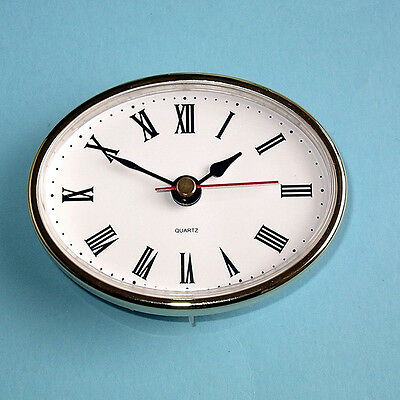 "2-1/2"" (65mm) QUARTZ CLOCK FIT-UP/Insert, Gold Trim, Roman Numeral clocks UK"