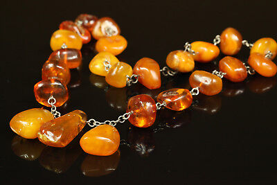 Natural Antique 93.3gr Butterscotch Egg Yolk Baltic Amber stone Necklace B031