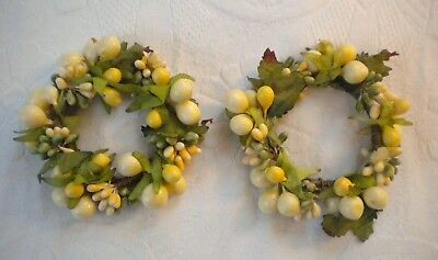 Pair of Vintage Fruit  Leaves Miniature Wreaths With Twisted Wire