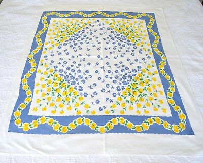 VINTAGE 1950s TABLECLOTH YELLOW & BLUE FLORALS COTTON 44X54 INCHES