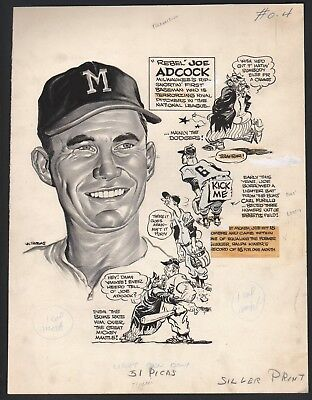 1956 Joe Adcock Braves w Brooklyn Bum Sporting News Cartoon Art by Lou Darvas