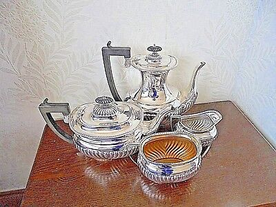 Beautiful Silver Plated Half Fluted Tea Service