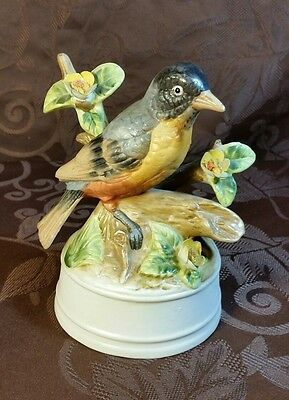ROBIN On Branch Vintage Eda MANN wind up Musical Milano Porcelain Sculpture