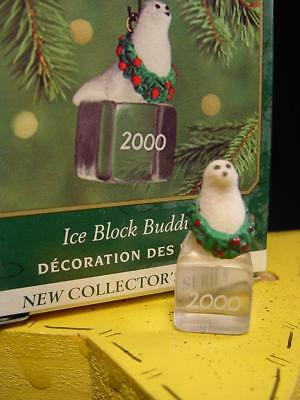 2000 HALLMARK Ice Block Buddies #1 Baby Seal MINIATURE CHRISTMAS ORNAMENT  wbox
