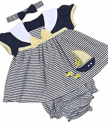 BabyPrem Baby Girls Dress Navy Blue Lemon Summer Sailor Outfit Set NB - 6m