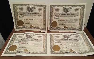 Lot of 4 Stock Certificates from 1936