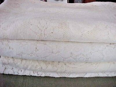 Vintage Ivory Lace Tablelcoth~Tablecloths~Lot of Four~ESTATE~NONE PERFECT~CUTTER