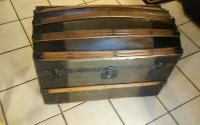 1800's Antique Victorian Tin and wood Steamer Trunk Chest