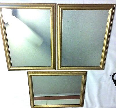 """Wall Hanging Mirror -- Wood Frame Gold Accents 10 3/4"""" X 13 3/4"""" 1990s LOT OF 3"""