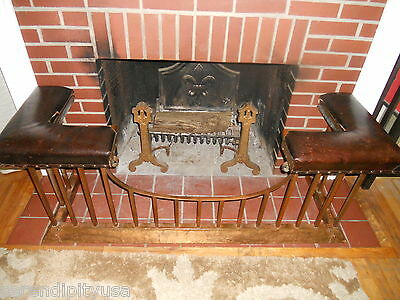 Circa 1900 Antique English Club Fender Fireplace Seat Bench Leather Seat Copper