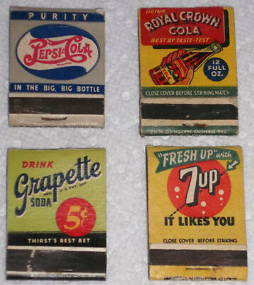 Lot Of 4 Vintage Soft Drink Matchbook Covers--Pepsi/7-Up/grapette/nehi-Rc Cola!!