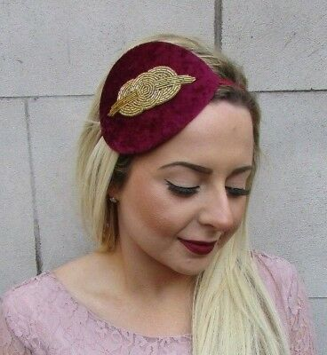 Gold Burgundy Wine Red Beaded Fascinator Teardrop Races Headband Vintage 5052
