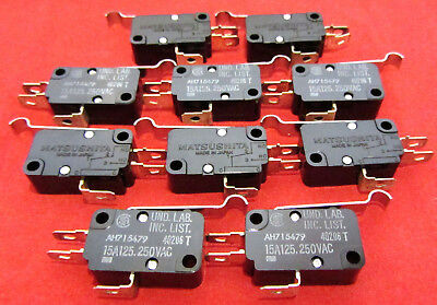 10 x Matsushita of Japan SPDT Microswitch Lever Snap Switch 15A 125V 250V AC J
