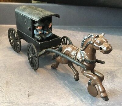Vintage Cast Iron Horse And Buggy Amish Family