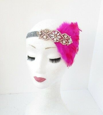 Hot Pink Rose Gold Silver Feather Headpiece 1920s Headband Great Gatsby Vtg 4057