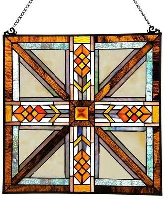 Contemporary Stained Glass Mission Style Window Panel Square Office Home Decor