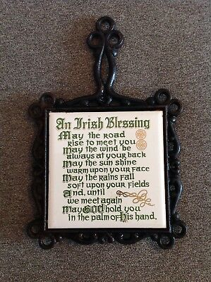 Trivet Tile Cast Iron Japan An Irish Blessing Ceramic Wall Hanging