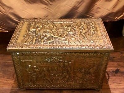 Antique English Brass Coal Box Victorian Embossed Brass over Wood. Amazing!