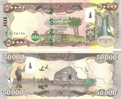 2 X 50000 = 100,000 NEW IRAQI DINARS 2015 NEW SECURITY FEATURES IQD Uncirculated
