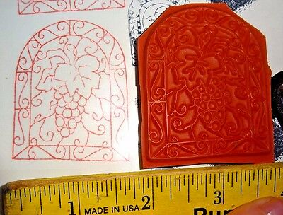 GRAPE VINE STAINED GLASS WINDOW swirl leaf rubber stamp UNMOUNTED Red Cushion