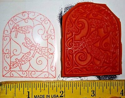 DRAGONFLY STAINED GLASS WINDOW swirl rubber stamp UNMOUNTED Red Cushion