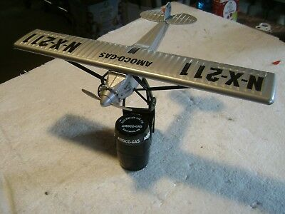 AMOCO -Gas Spirit of St.Louis Desktop Model  collectible Airplane on stand Nice