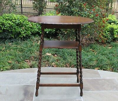 Antique English Oak OVAL 2-Tier Barley Twist End Table Lamp Table Pie Crust Top