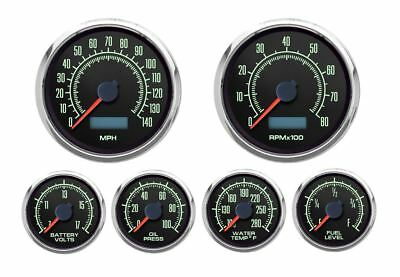 "New Vintage Black 1969 Series 6 Gauge Kit ~ 3 3/8"" Speedo/Tach - 69649-01"