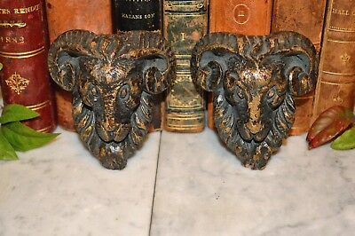 Antique Pair German Black Forest Carved Wood Ram Heads Decorative Mounts