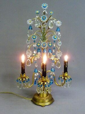 Vintage French Brass Bronze Crystal Candelabra Lamp Celeste Blue Bell Chandelier