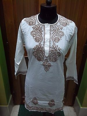 "100% Cotton M 41"" Top Handmade Ethnic Chikan Embroidery Tunic Kurta Kurti Blouse"