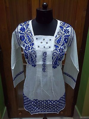Blouse 100% Cotton S 2Xs Top Handmade Ethnic Chikan Embroidery Tunic Kurta Kurti
