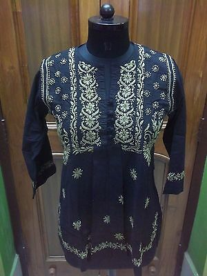 "100%cotton Dress L 42"" Blouse Crochet Chikan Embroidery Handmade Top Kurta Kurti"
