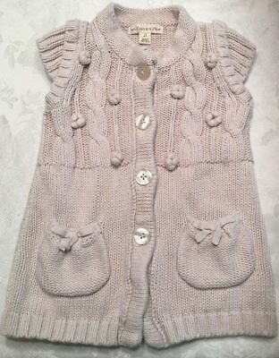 Girls The Eagles Eye Size 2T Cardigan Sweater Cable Knit Winter Cream Short Sl