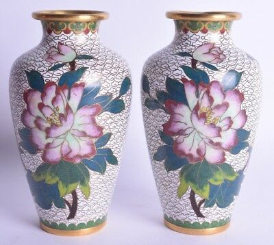 pair early 20th century chinese cloisonne enamel baluster shaped vase antique