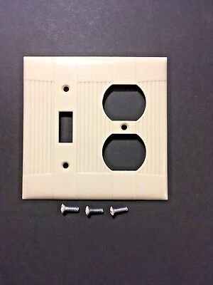 Vintage Eagle Tuxedo Ivory Bakelite Ribbed Combo Toggle & Outlet Plate Cover
