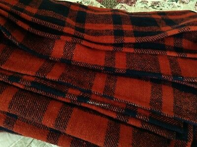 Antique Red Plaid Homespun Wool Blanket Primitive Center Seam VERY OLD coverlet
