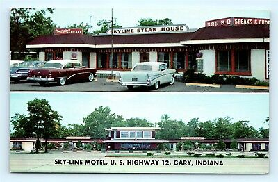 Postcard IN Gary Sky-Line Motel & Steak House Restaurant 1950s Old Cars F19