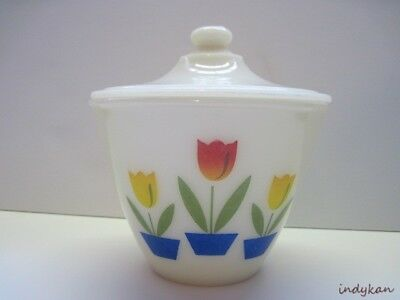 Tulip Fire King VTG Grease Jar Bowl w Lid Flower Pot Anchor Hocking Pyro Glass