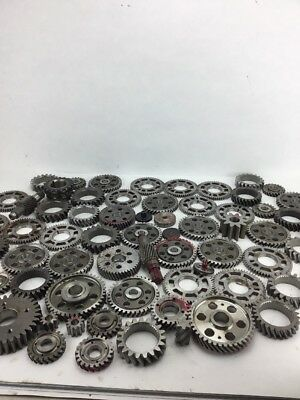 Industrial Machine Age Steel Lot 65 Gears/Cogs Steampunk Art Parts Lamp Base