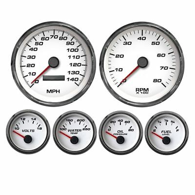 "New Vintage White Perf Series 6 Gauge Kit ~ 4 3/8"" Speedo - 0-90 Fuel - 01659-03"
